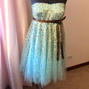 Jovani Ice Blue Sequined Sweetheart Dress SIZE 4/6